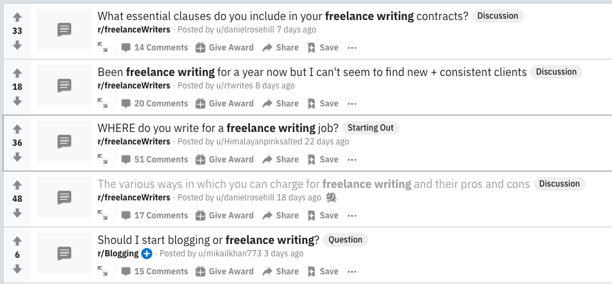 AskReddit freelance writing search
