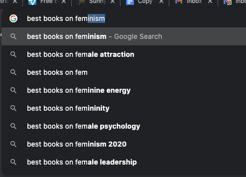 google autocomplete for best books on fem