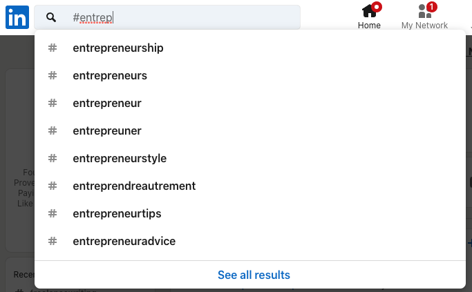 Entrepreneurship hashtag options on LinkedIn