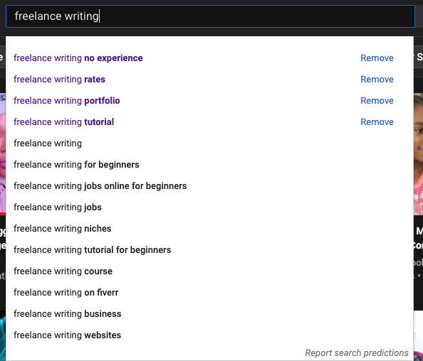 Freelance writing search autocomplete on YouTube