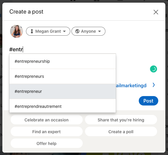 Hashtag options on LinkedIn